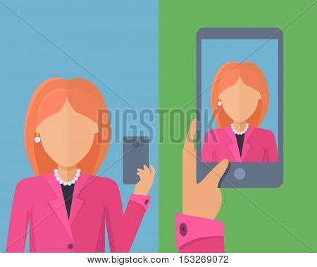 Selfy on smartphone. Young girl taking own self portrait with mobile phone. Modern life with selfie photo camera. Selfie smile concept. Woman shows her photo on displlay. Vector illustration