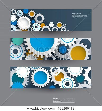 Vector abstract gear wheel banners set. High tech technology and engineering background. Machine technology futuristic concept. Vector abstract technology for web banner template or brochure
