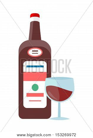 Bottle with alcohol vector in flat style. Liqueur, liquor, rum, wine, illustrations for beverages concepts, grocery store advertising, icons, infograqphic element. Isolated on white background.