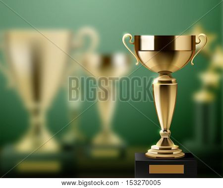 Realistic background with shiny golden trophy awards cups vector illustration