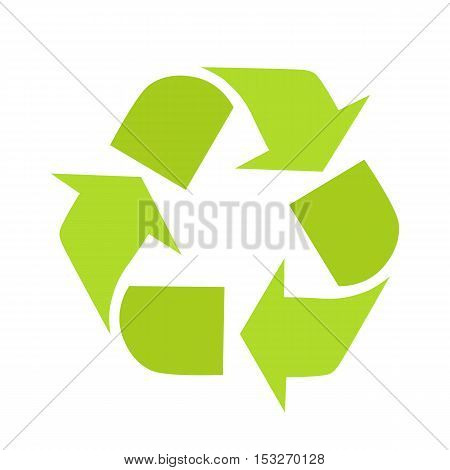 Sign of recycling. Recycling icon in flat. Green recycle symbol isolated on white background. Waste recycling. Environmental protection. Vector illustration.