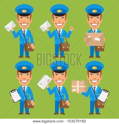 Vector Illustration, Postman Holding Letter Package Newspaper, Format EPS 8