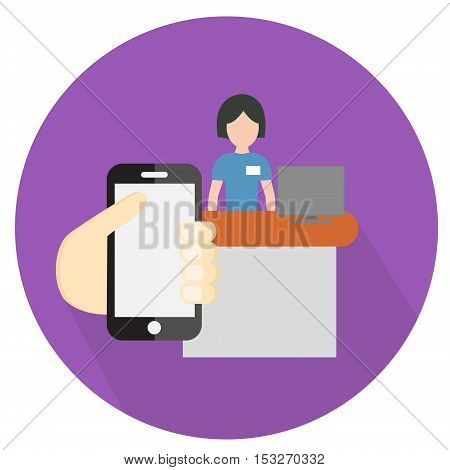 Hand holding a phone in the store shows the seller. Icon flat style vector illustration