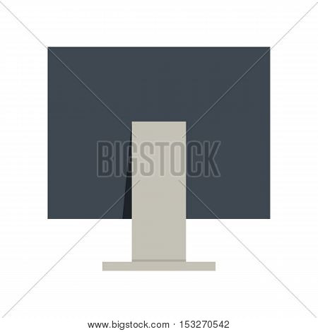 Black computer monitor in flat. Computer monitor back view. Concept of IT communication, e-learning, internet network, online service. Isolated object on white background. Vector illustration.