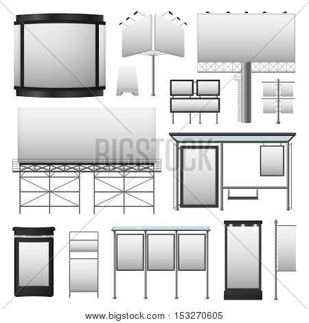 Outdoor advertisement set with blank billboards displays of different sizes in gray colors isolated vector illustration
