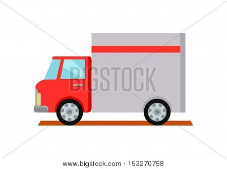 Lorry truck worldwide warehouse delivering. Logistics container shipping and distribution. Transportation to any part of world. Overland delivering. Loading and unloading boxes. Vector illustration