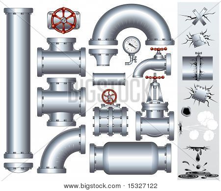 Set of industrial pipeline parts with set of various damaged elements. Including-gas or fuel pipe, faucet, valve, connector, shaft, wheel, fitting, gate, wheel etc...(similar vector id=61748371 )
