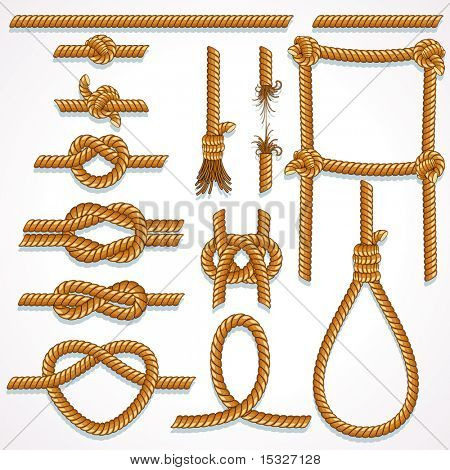 Set of Rope design elements - knot, ladder, noose, loop, reef knot, eight knot, string and broken hawser.(similar vector version id=61748362)