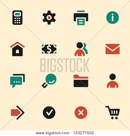 Basic web icons set. Mobile screen symbols.