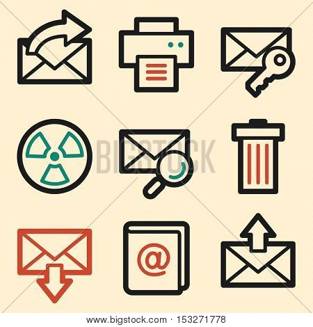 E-mail web icons. Mobile icon, infographics symbols.