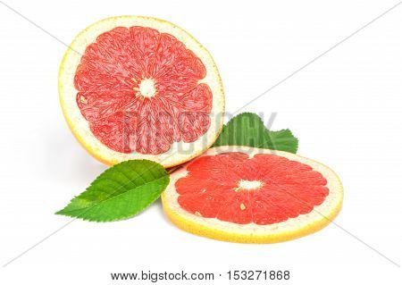 Ripe cut grapefruit and slice isolated on white background.