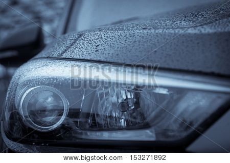 Detail on one of the LED headlights of a car.