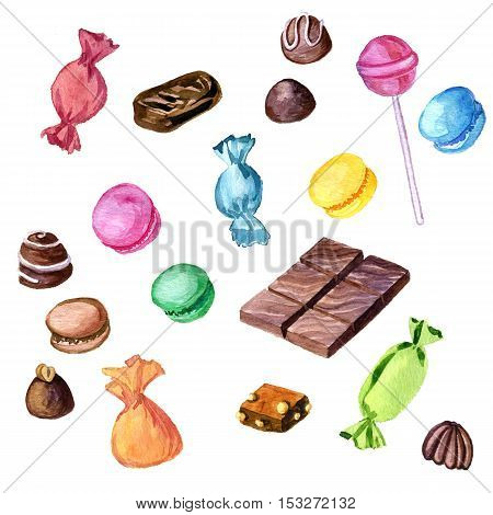 watercolor chocolate candies, macaroons and lollipop isolated at white background