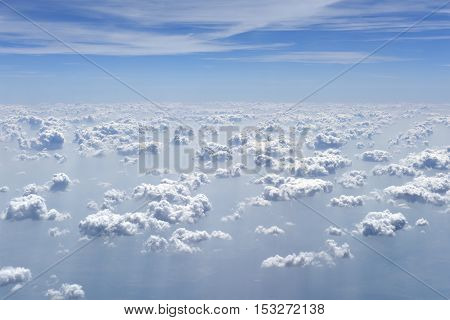 Clouds, view from airplane window at a height of 10 kilometers