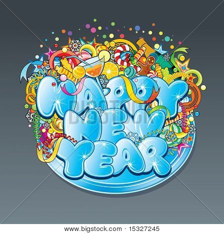 New Year text label- vector design concept. Ice font with large group of separated detailed christmas symbols.