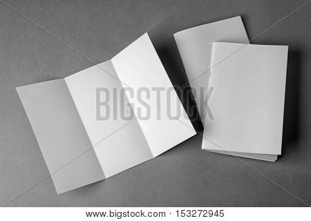 Blank brochures and booklet on grey background