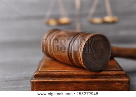 Judge's gavel and sound block, closeup