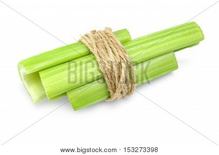 fresh celery stems on a white background cutout.