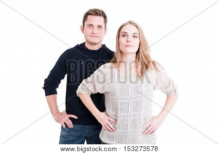 Couple Posing And Standing With Arms On Hips
