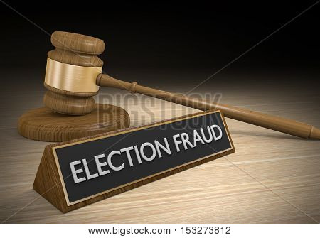 Law concept for election fraud and vote ballot rigging, 3D rendering