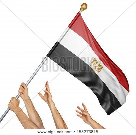 Team of peoples hands raising the Egypt national flag, 3D rendering isolated on white background