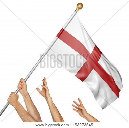 Team of peoples hands raising the England national flag, 3D rendering isolated on white background