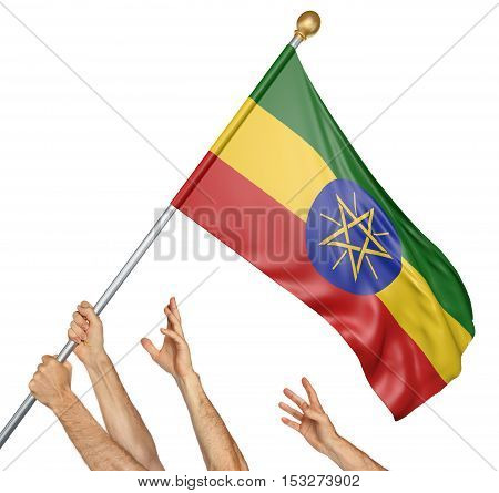 Team of peoples hands raising the Ethiopia national flag, 3D rendering isolated on white background