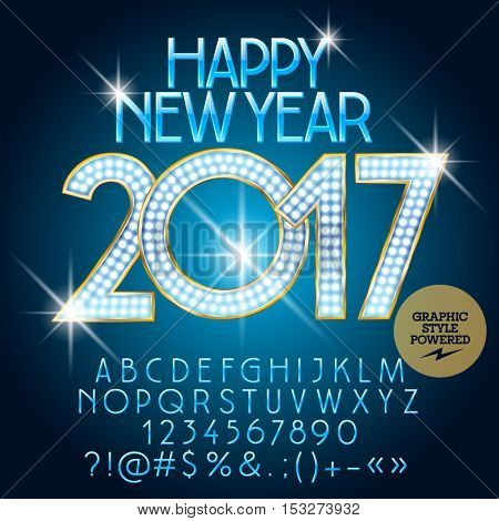 Vector luxury light up Happy New Year 2017 greeting card with set of letters, symbols and numbers. File contains graphic styles