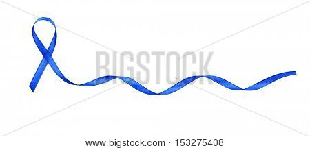 Colon cancer awareness concept. Blue ribbon isolated on white