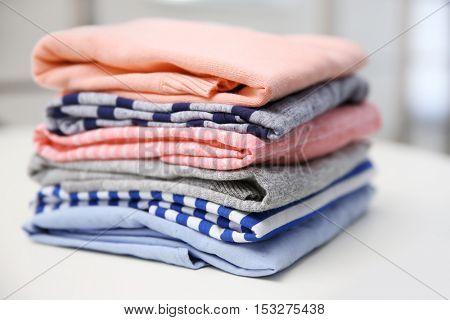 Folded clothes, closeup