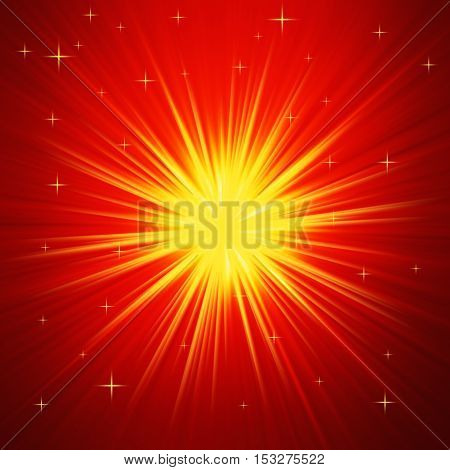 Red and Gold Radial abstract starburst Christmas background