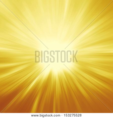 bright sunbeams shiny summer background with vibrant yellow & orange colors. Gold illustration. Perfect light striped background