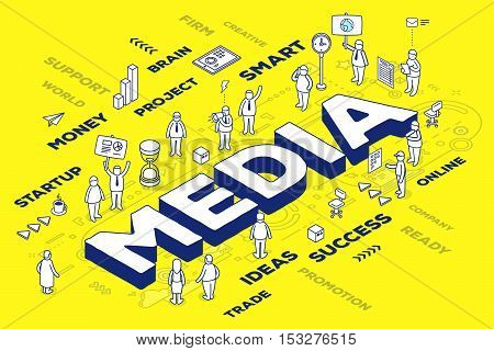 Vector Illustration Of Three Dimensional Word Media With People And Tags On Yellow Background With S
