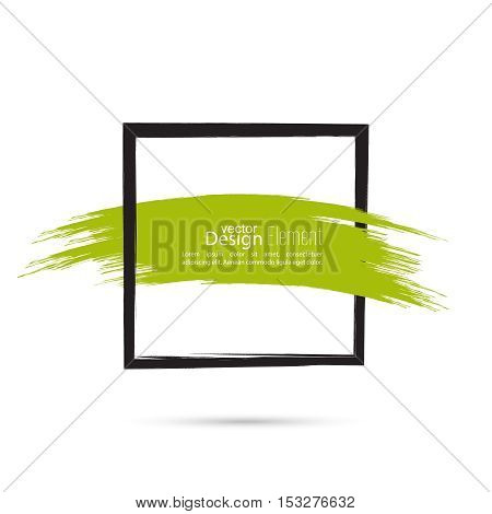 Abstract background with square banner and smear paint. Text box and frame. Vector hand drawn.template, layout