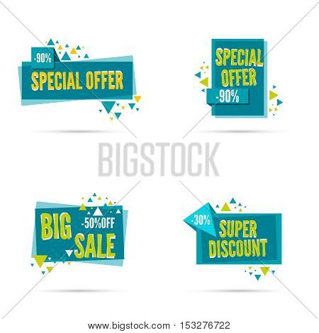 Sale banner. Vector tag. special offer, discount, price  30 50 90 percentage Super offer
