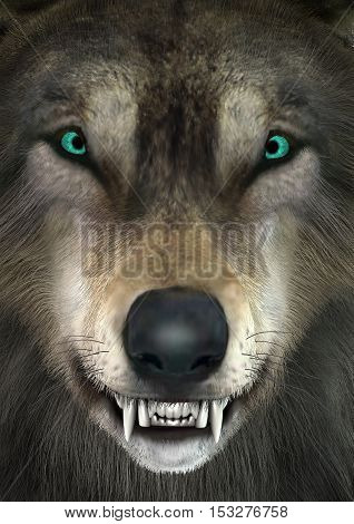3D rendering of a head of a wolf closeup