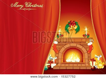 Christmas Day - Illustrated greeting Card with festive interior, fireplace and classical xmas ornaments and gifts -vector ready for your text