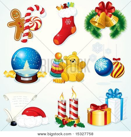 Christmas Set - detailed vector clip art include: Gifts, Sock, Sweets, Snowglobe,  Bells, Santa symbols and other decorations - design elements