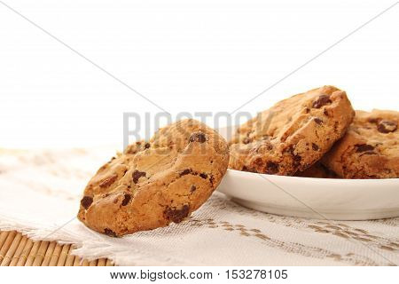 Close-up of round chocolate biscuits are on the plate