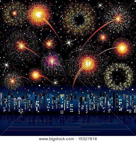 Festive Fireworks over a city - all salute vector elements grouped