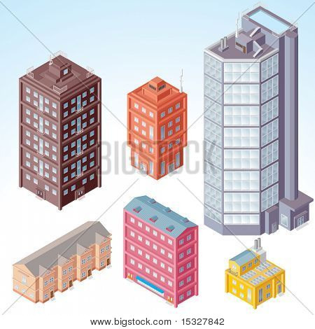 Set of isolated Modern City Buildings - isometric illustration of various urban dwellings, detailed vector clip-art with separated elements and easy editable colors