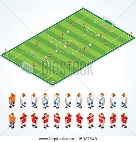 Soccer Tactical Kit - isometric vector illustration of football field and abstract teams, all elements separated and grouped