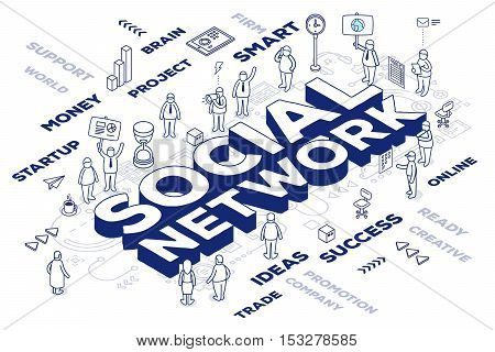 Vector Illustration Of Three Dimensional Word Social Network With People And Tags On White Backgroun