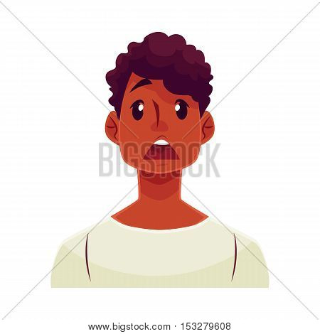 Young african man face, surprised facial expression, cartoon vector illustrations isolated on white background. Handsome boy emoji surprised, shocked, amazed, astonished. Surprised face expression