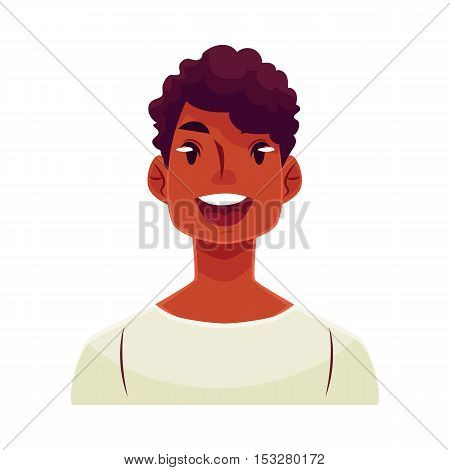 Young african man face, wow facial expression, cartoon vector illustrations isolated on white background. Handsome boy emoji surprised, amazed, astonished. Surprised, wow face expression