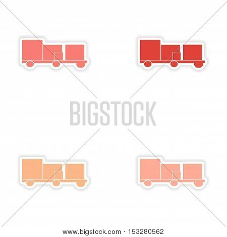 assembly realistic sticker design on paper trailers transportation goods