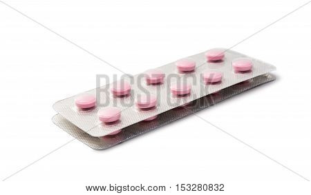tablet, painkiller, medicine Packing pills on white background