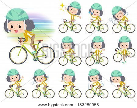 Yellow Jacket Middle Woman Ride On Rode Bicycle