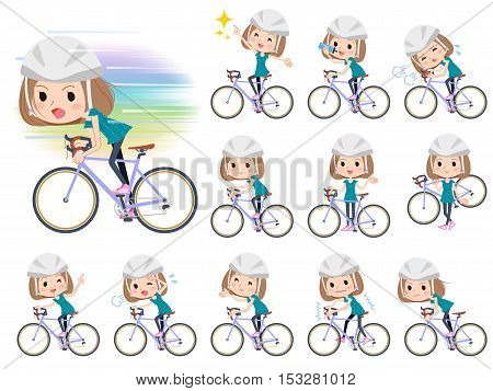 Set of various poses of Bob hair green wear women ride on bicycle