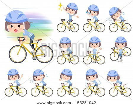 Set of various poses of Mash hair blue wear women ride on bicycle
